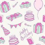 Doodle birthday party seamless pattern Stock Image