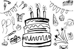 Doodle Birthday Stuff Royalty Free Stock Photography