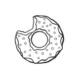 Doodle of bitten donut with glaze and powder Royalty Free Stock Images