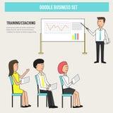 Doodle biznesowy trenowanie w biurze ulepsza umiejętność lub knowledg ilustracji