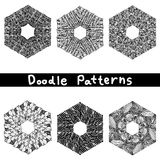 Doodle black line pattern background designs Royalty Free Stock Images