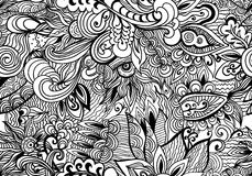 Doodle black and white abstract hand-drawn background. Wavy zentangle style seamless pattern. Royalty Free Stock Photos