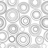 Doodle black and white circles seamless pattern, vector. Background royalty free illustration
