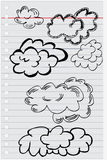 Doodle black and white clouds Royalty Free Stock Photos