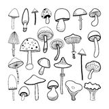 Doodle black and white mushrooms on background. Vector Royalty Free Stock Photos