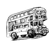 Doodle black and white sketch drawing of London symbol - red bus. Vector illustration Royalty Free Stock Photo