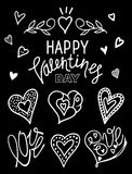 Doodle black and white valentines day set. Lettering, hearts an Stock Image
