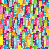 Doodle block of flats background, seamless pattern for kids Stock Image