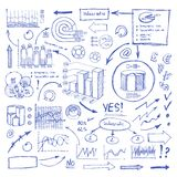 Doodle Blue Business Charts and Arrows on White Stock Photography