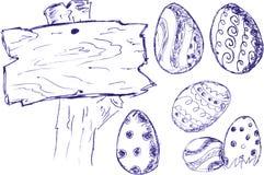 Doodle blue pen Easter eggs, Stock Photos