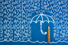 Doodle blue umbrella and whie raindrops Stock Photography