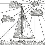 Doodle boat floating on the waves. Royalty Free Stock Images
