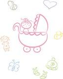 Doodle bonito do bebê ajustado (menina) Fotografia de Stock