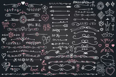 Doodle border,arrows,decor element,hearts.Love set Royalty Free Stock Photography