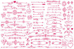 Doodle border,arrows,decor element,hearts.Love set Royalty Free Stock Photo