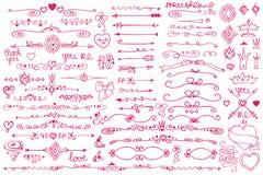 Doodle border,arrows,decor element,hearts.Love set. Doodles frames ,border dividers,arrow,ribbons and hearts,love decor elements set.For design template Royalty Free Stock Photo