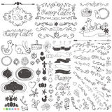 Doodle border,budges,eggs,ribbons,floral easter Royalty Free Stock Image