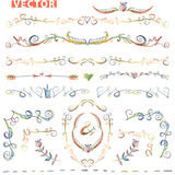 Doodle border,corner decor set.Colored crayon Stock Image