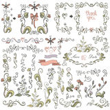 Doodle border,frame,decor element.Floral colored sketched Royalty Free Stock Photos