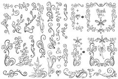 Doodle border,frame,decor element.Floral hand Stock Photography