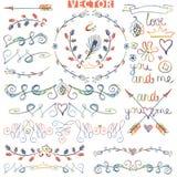 Doodle border,frame,decor.Ñolored watercolor, Stock Image