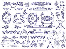 Doodle border,frame,decor ,snowflakes.Winter love Stock Images