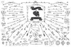 Doodle border,frame,ribbonst.Handscetched Love Royalty Free Stock Images