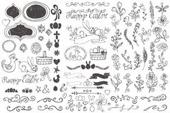 Doodle borders,egg,ribbons,floral decor element Royalty Free Stock Images