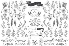 Doodle borders,ribbons,floral decor element for