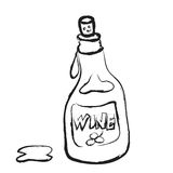 Doodle bottle of wine Royalty Free Stock Images