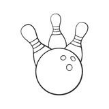 Doodle of bowling ball knocks down pins stock illustration