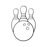 Doodle of bowling ball and pins vector illustration