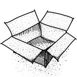 Doodle box, package, or Shipping. Sketch Black contour on white background Stock Photos