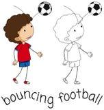 A doodle boy bouncing football stock illustration