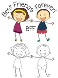 Doodle boy and girl best friends vector illustration
