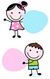 Doodle boy and girl holding blank banners. Cute school children with blank labels. Vector Stock Photos