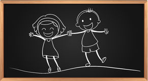 Doodle of boy and girl holding hands Royalty Free Stock Photos