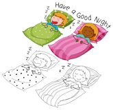 Doodle boy and girl sleeping vector illustration