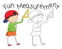 Doodle boy holding measurement tool. Illustration royalty free illustration