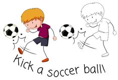 Doodle boy kick a soccer ball. Illustration royalty free illustration