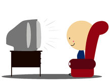 Doodle Boy watch tv in armchair - Full Color Royalty Free Stock Photos