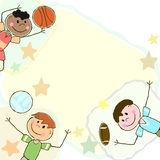 Doodle boys and balls Stock Photography