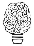 Doodle brain lightbulb outline Royalty Free Stock Image