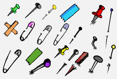 Doodle Breastpin, push pin,  nail and needle Stock Images