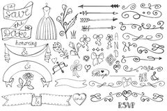 Doodle bridal shower border,ribbon,decor elements Royalty Free Stock Image