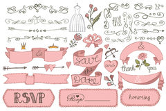 Doodle bridal shower ribbon,border,badges,decor Royalty Free Stock Photos