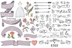 Doodle bridal shower  ribbon,border,decor elements Royalty Free Stock Photography
