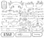 Doodle bridal shower ribbons,border,badges,decor Royalty Free Stock Photo