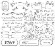Doodle bridal shower ribbons,border,badges,decor royalty free illustration