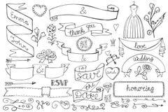 Doodle bridal shower ribbons,border,decor elements Stock Photo